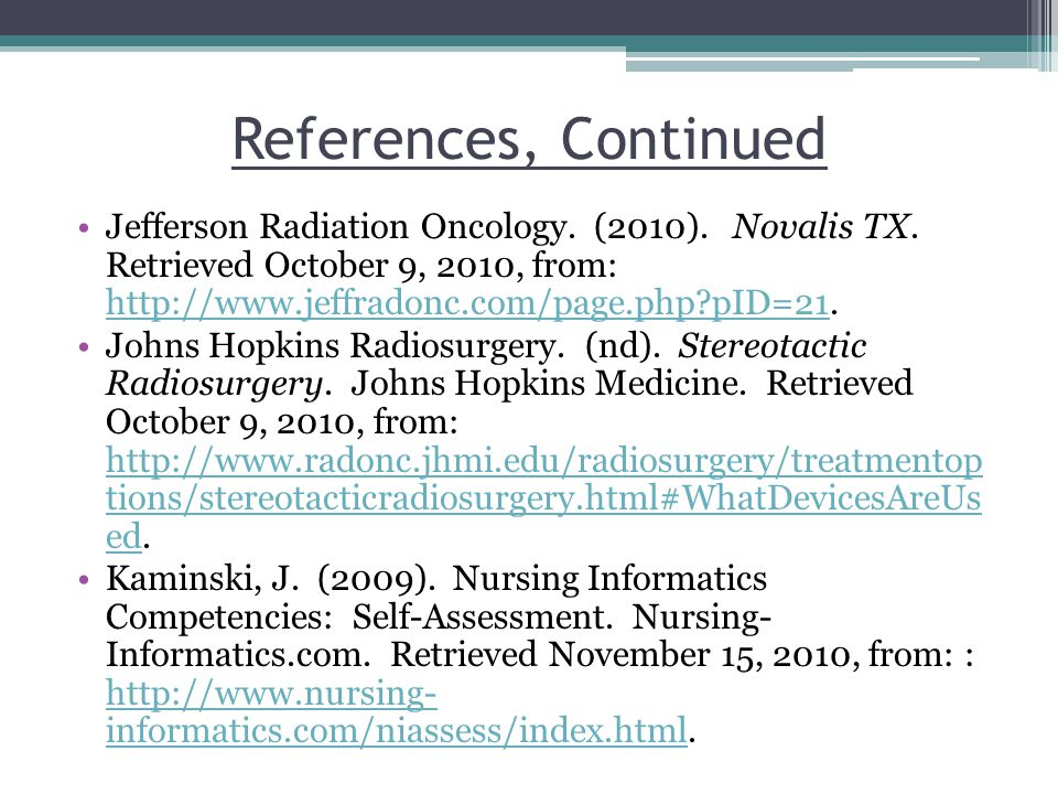 References, Continued Jefferson Radiation Oncology.