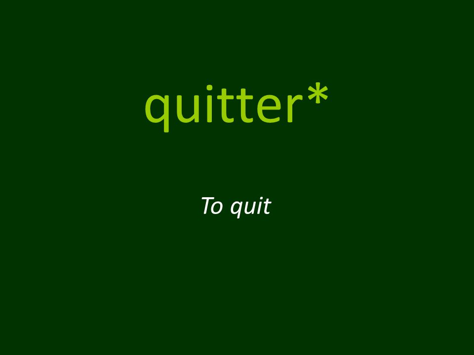 quitter* To quit