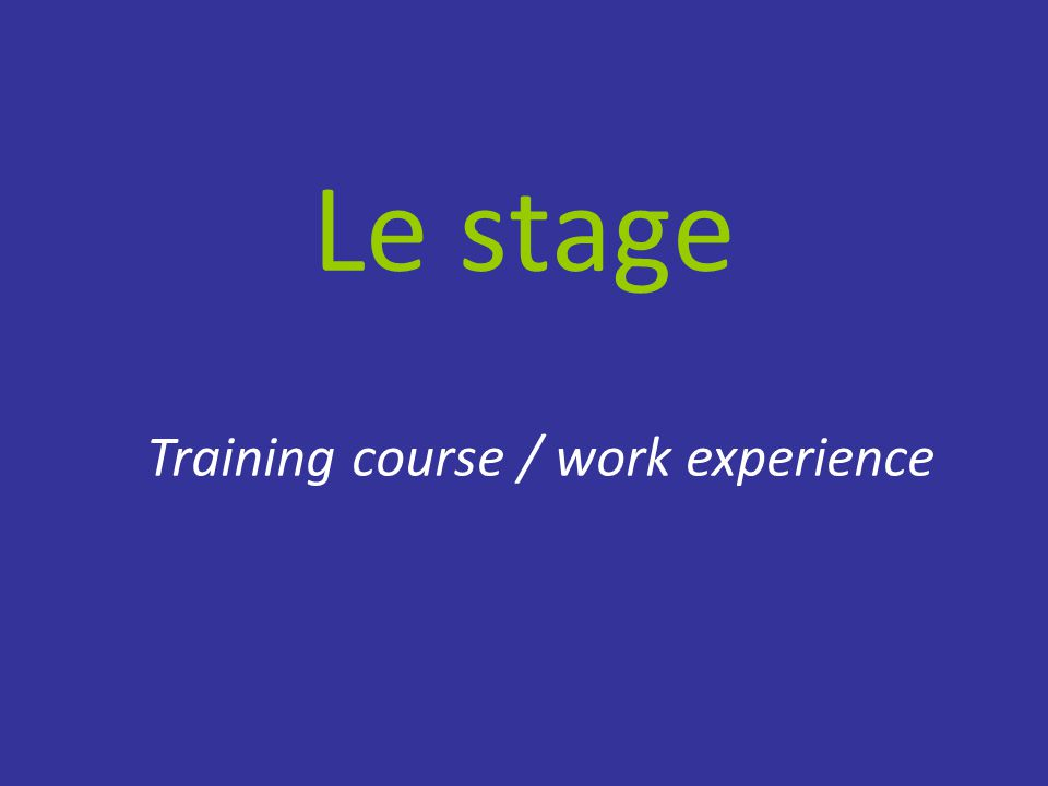 Le stage Training course / work experience