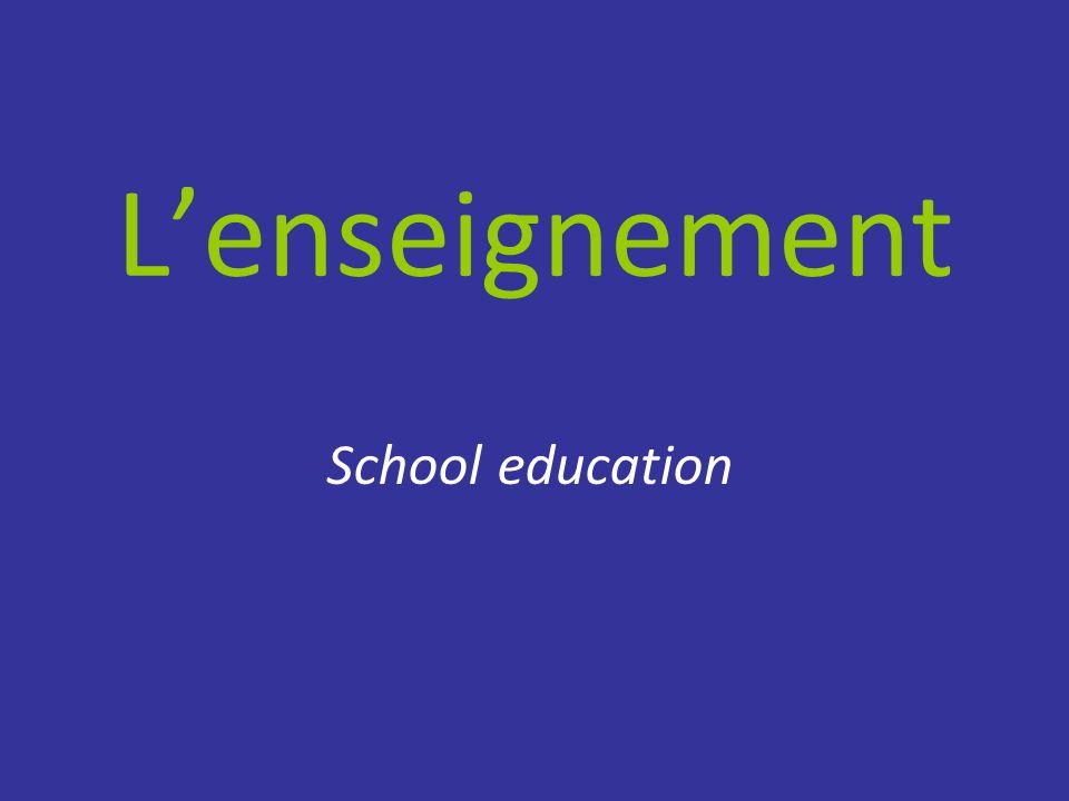 L'enseignement School education