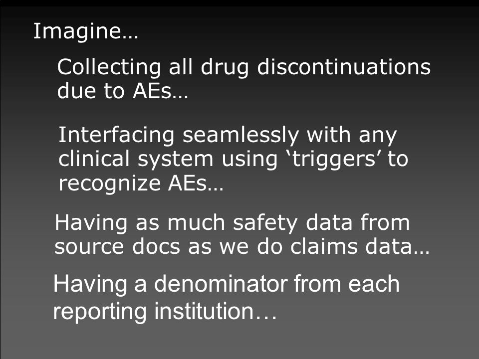 Imagine… Collecting all drug discontinuations due to AEs… Interfacing seamlessly with any clinical system using 'triggers' to recognize AEs… Having as