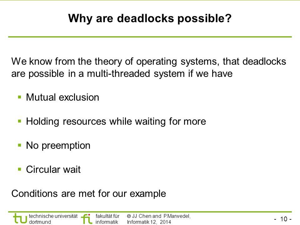 - 10 - technische universität dortmund fakultät für informatik  JJ Chen and P.Marwedel, Informatik 12, 2014 Why are deadlocks possible.