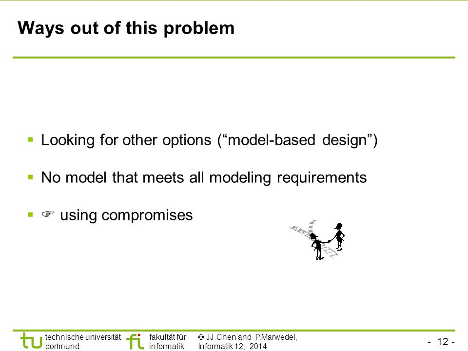 - 12 - technische universität dortmund fakultät für informatik  JJ Chen and P.Marwedel, Informatik 12, 2014 Ways out of this problem  Looking for other options ( model-based design )  No model that meets all modeling requirements  using compromises