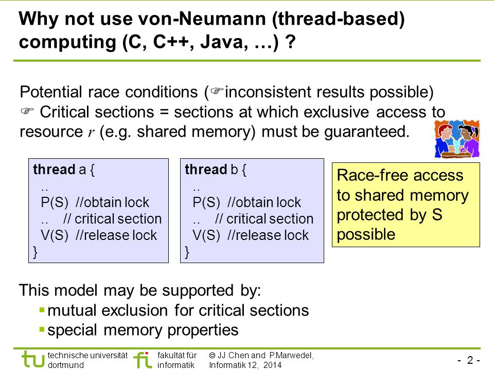 - 23 - technische universität dortmund fakultät für informatik  JJ Chen and P.Marwedel, Informatik 12, 2014 Compositionality At the abstract level, reaction of connected other automata is immediate Based on slide 16 of N.