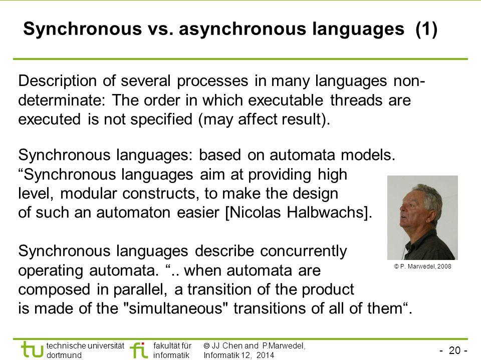 - 20 - technische universität dortmund fakultät für informatik  JJ Chen and P.Marwedel, Informatik 12, 2014 Synchronous vs.