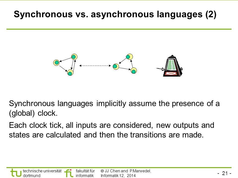 - 21 - technische universität dortmund fakultät für informatik  JJ Chen and P.Marwedel, Informatik 12, 2014 Synchronous languages implicitly assume the presence of a (global) clock.