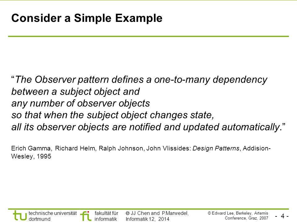 - 5 - technische universität dortmund fakultät für informatik  JJ Chen and P.Marwedel, Informatik 12, 2014 Example: Observer Pattern in Java public void addListener(listener) {…} public void setValue(newvalue) { myvalue=newvalue; for (int i=0; i<mylisteners.length; i++) { myListeners[i].valueChanged(newvalue) } Thanks to Mark S.