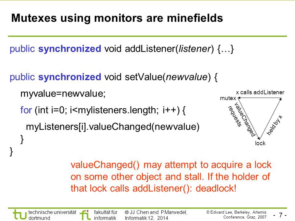 - 8 - technische universität dortmund fakultät für informatik  JJ Chen and P.Marwedel, Informatik 12, 2014 Simple Observer Pattern becomes not so simple public synchronized void addListener(listener) {…} public void setValue(newValue) { synchronized (this) { myValue=newValue; listeners=myListeners.clone(); } for (int i=0; i<listeners.length; i++) { listeners[i].valueChanged(newValue) } while holding lock, make a copy of listeners to avoid race conditions notify each listener outside of the synchronized block to avoid deadlock This still isn't right.