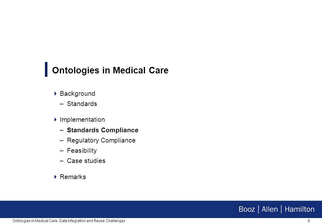 9 Ontologies in Medical Care  Background –Standards  Implementation –Standards Compliance –Regulatory Compliance –Feasibility –Case studies  Remarks
