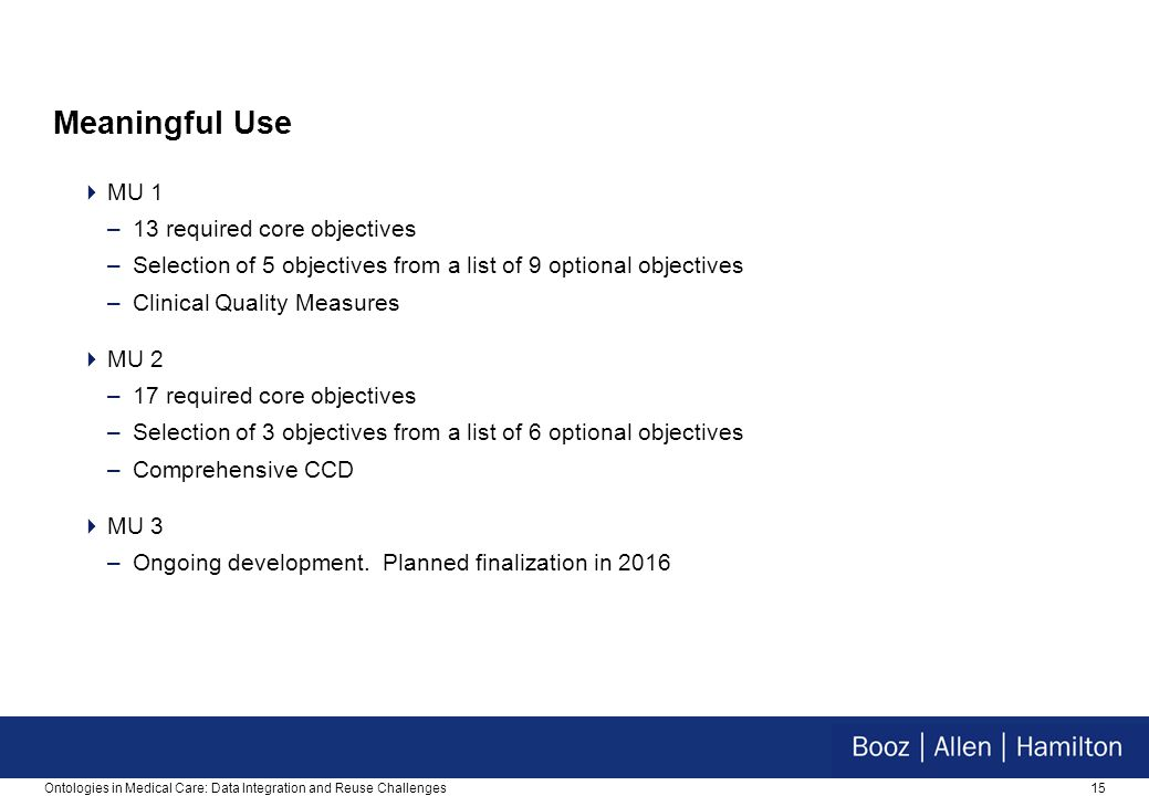 15 Meaningful Use  MU 1 –13 required core objectives –Selection of 5 objectives from a list of 9 optional objectives –Clinical Quality Measures  MU