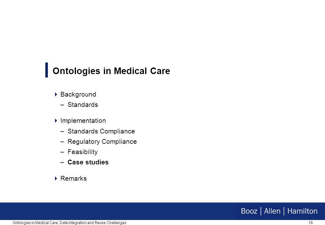 19Ontologies in Medical Care: Data Integration and Reuse Challenges Ontologies in Medical Care  Background –Standards  Implementation –Standards Com