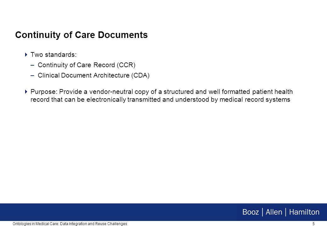 5 Continuity of Care Documents  Two standards: –Continuity of Care Record (CCR) –Clinical Document Architecture (CDA)  Purpose: Provide a vendor-neu