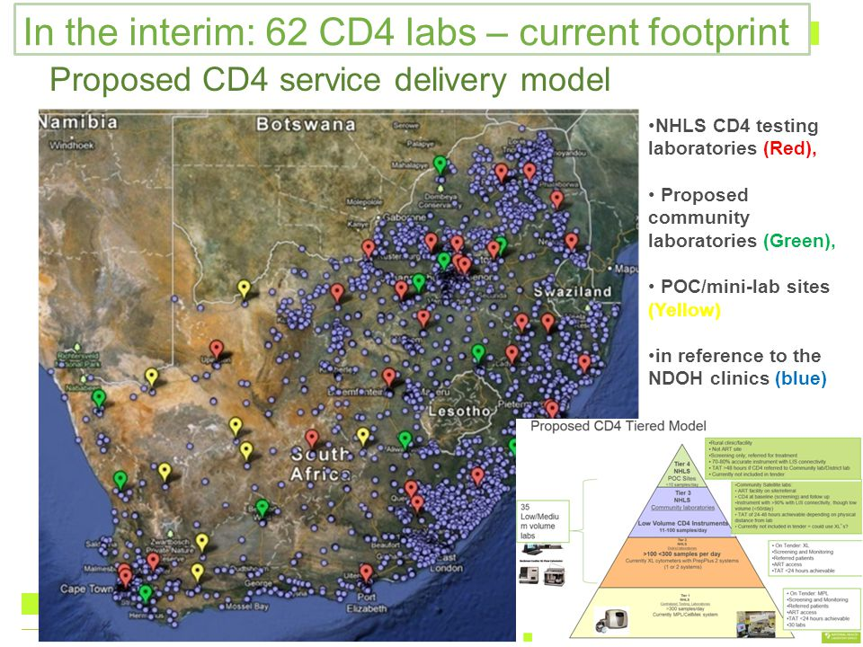 Proposed CD4 service delivery model NHLS CD4 testing laboratories (Red), Proposed community laboratories (Green), POC/mini-lab sites (Yellow) in refer