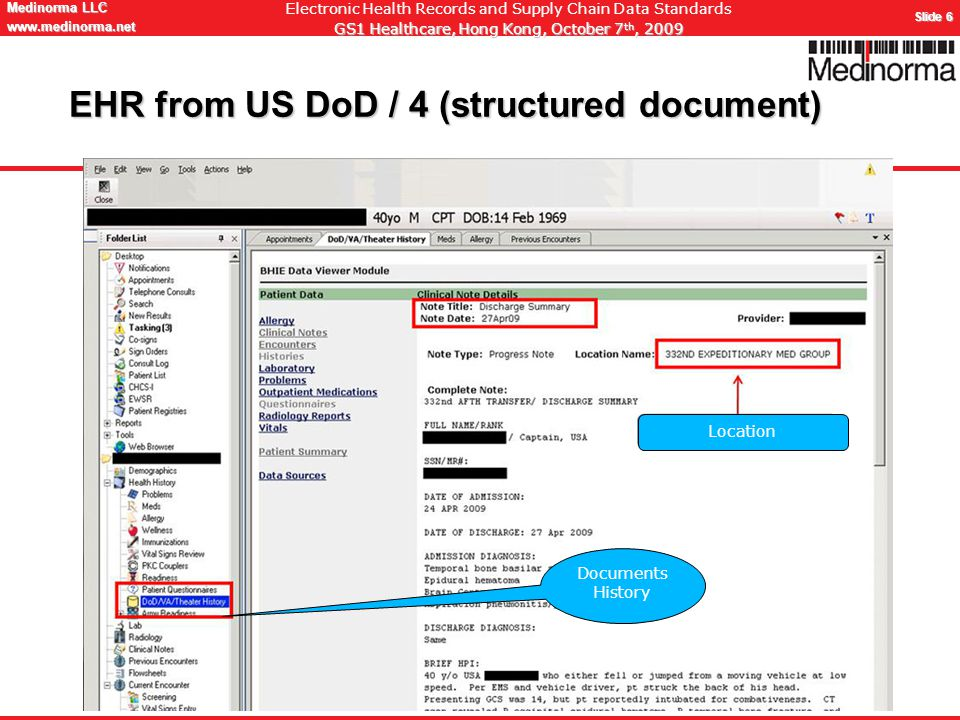 © Medinorma LLC Switzerland www.medinorma.biz Medinorma LLC www.medinorma.net Slide 6 Electronic Health Records and Supply Chain Data Standards GS1 Healthcare, Hong Kong, October 7 th, 2009 EHR from US DoD / 4 (structured document) Documents History Location