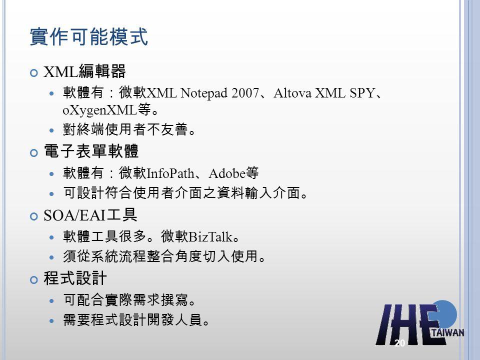 實作可能模式 XML 編輯器 軟體有:微軟 XML Notepad 2007 、 Altova XML SPY 、 oXygenXML 等。 對終端使用者不友善。 電子表單軟體 軟體有:微軟 InfoPath 、 Adobe 等 可設計符合使用者介面之資料輸入介面。 SOA/EAI 工具 軟體工具很