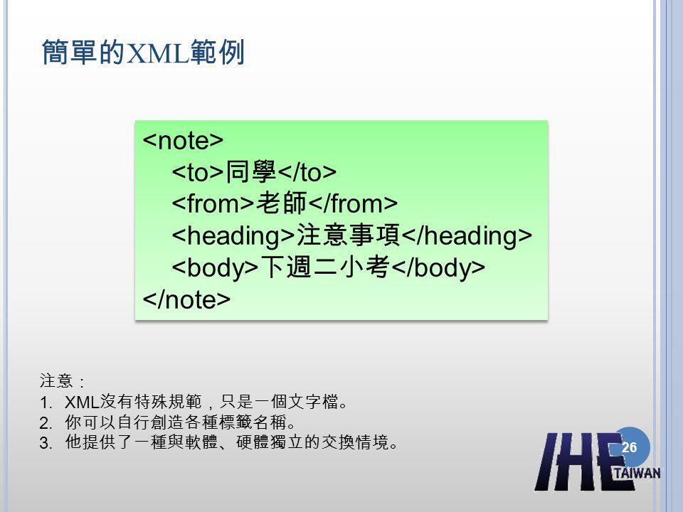 簡單的 XML 範例 同學 老師 注意事項 下週二小考 注意: 1.XML 沒有特殊規範,只是一個文字檔。 2. 你可以自行創造各種標籤名稱。 3. 他提供了一種與軟體、硬體獨立的交換情境。 26