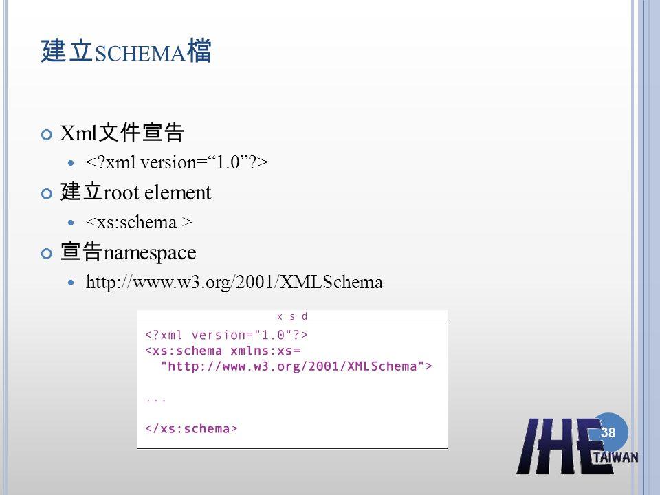 建立 SCHEMA 檔 Xml 文件宣告 建立 root element 宣告 namespace http://www.w3.org/2001/XMLSchema 38