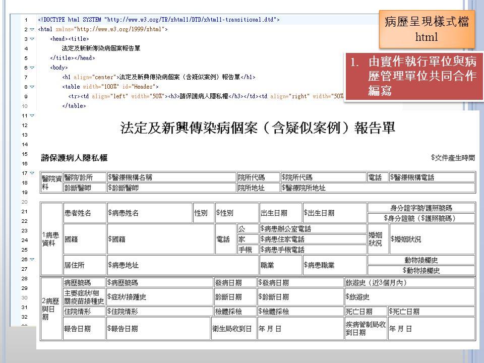 病歷呈現樣式檔 html 1. 由實作執行單位與病 歷管理單位共同合作 編寫