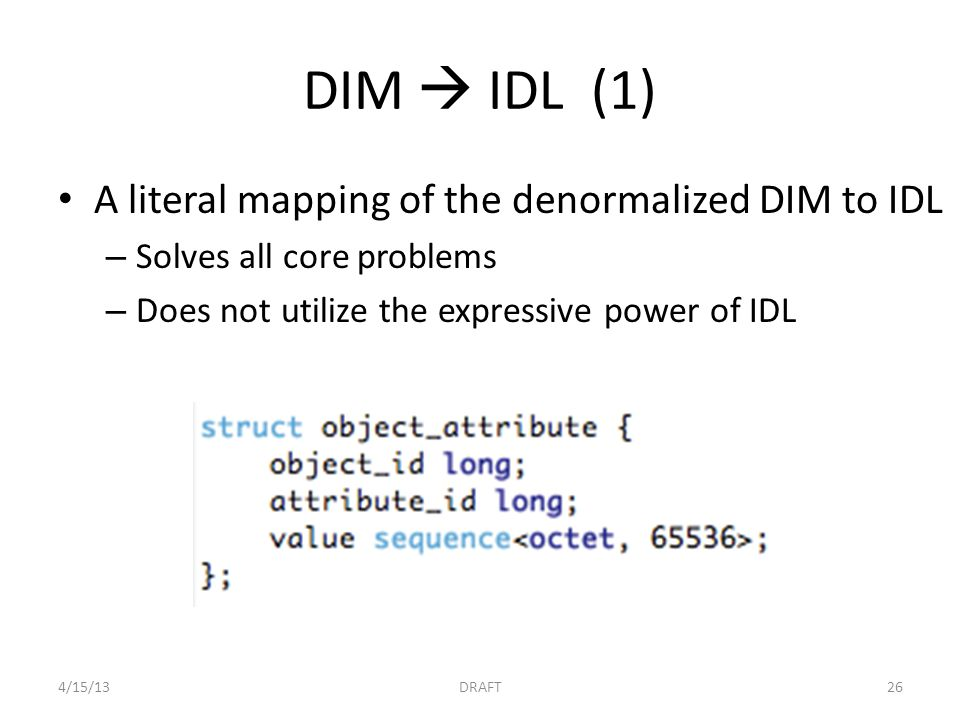 DIM  IDL (1) A literal mapping of the denormalized DIM to IDL – Solves all core problems – Does not utilize the expressive power of IDL 4/15/13DRAFT2