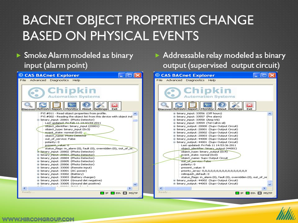 BACNET OBJECT PROPERTIES CHANGE BASED ON PHYSICAL EVENTS  Smoke Alarm modeled as binary input (alarm point)  Addressable relay modeled as binary output (supervised output circuit)