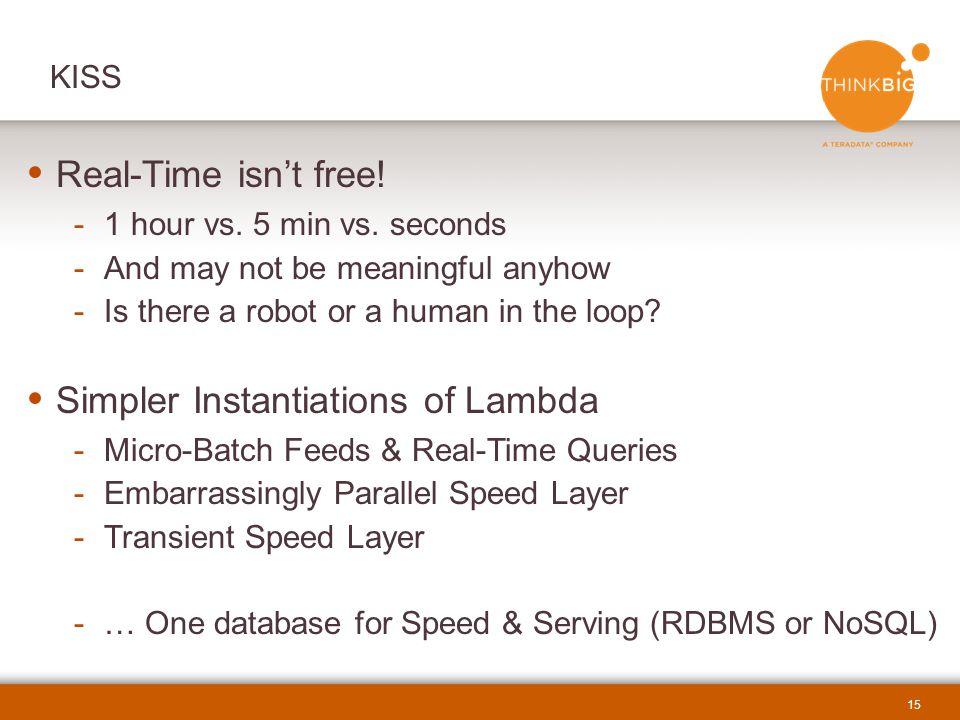 15  Real-Time isn't free.-1 hour vs. 5 min vs.