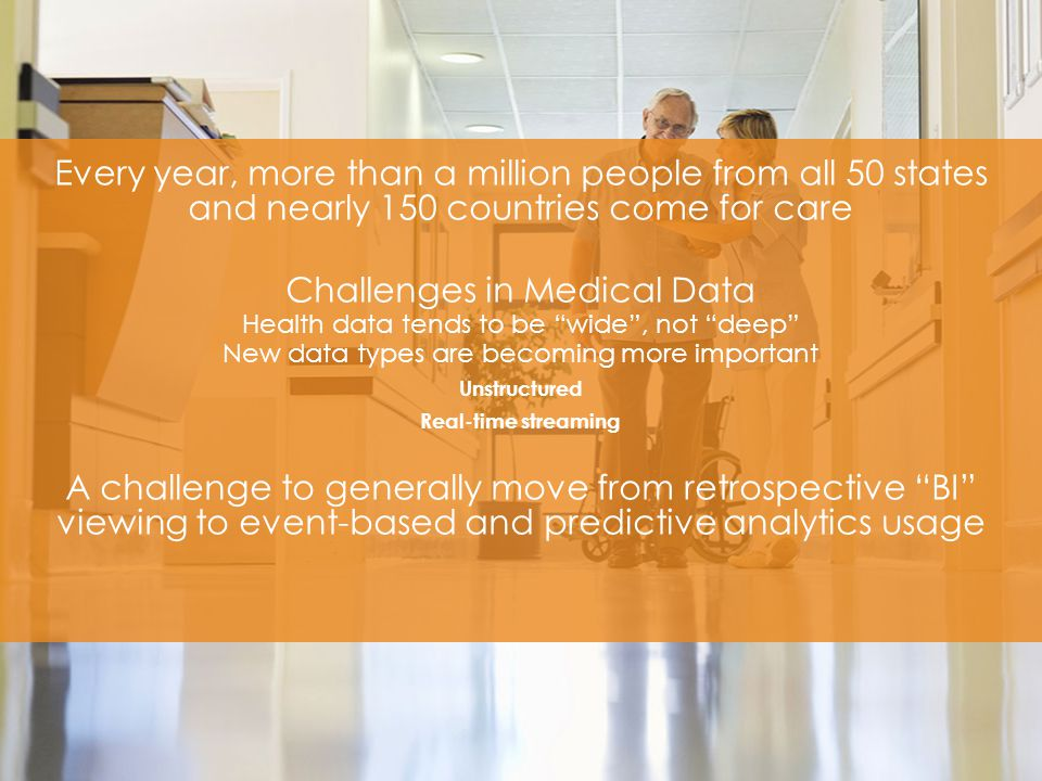 ​ Every year, more than a million people from all 50 states and nearly 150 countries come for care ​ Challenges in Medical Data ​ Health data tends to