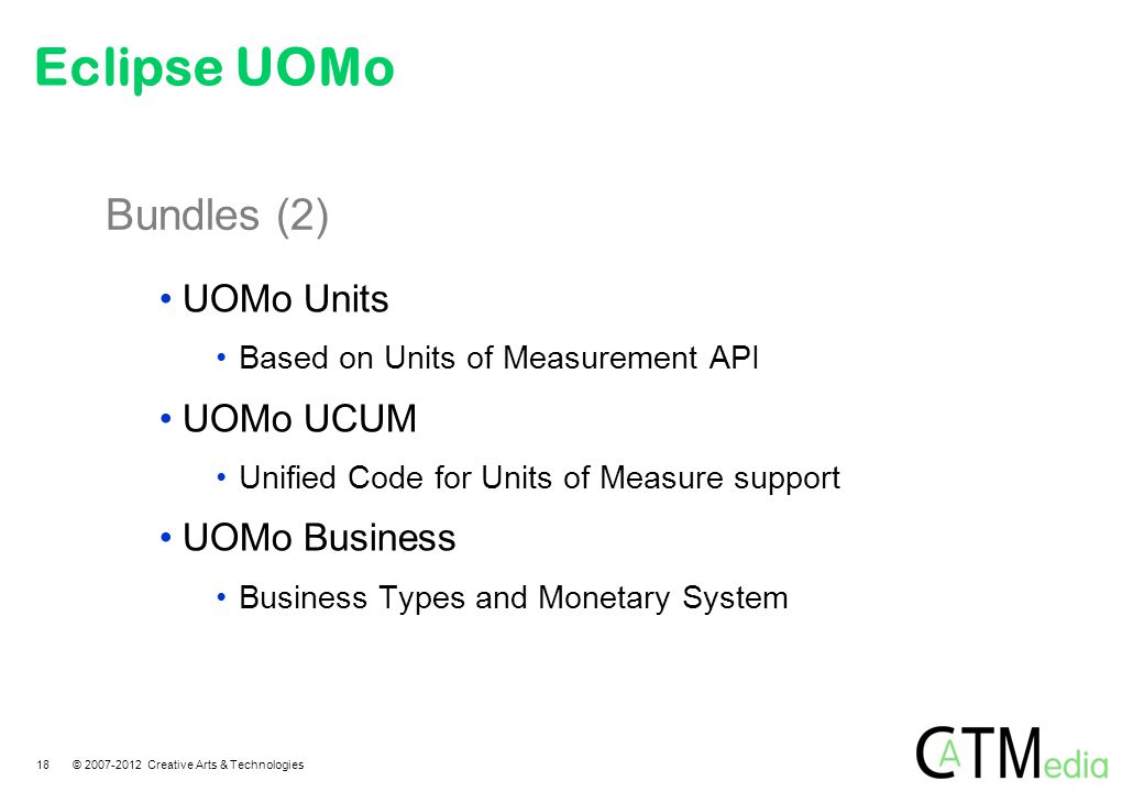 Bundles (2) UOMo Units Based on Units of Measurement API UOMo UCUM Unified Code for Units of Measure support UOMo Business Business Types and Monetary
