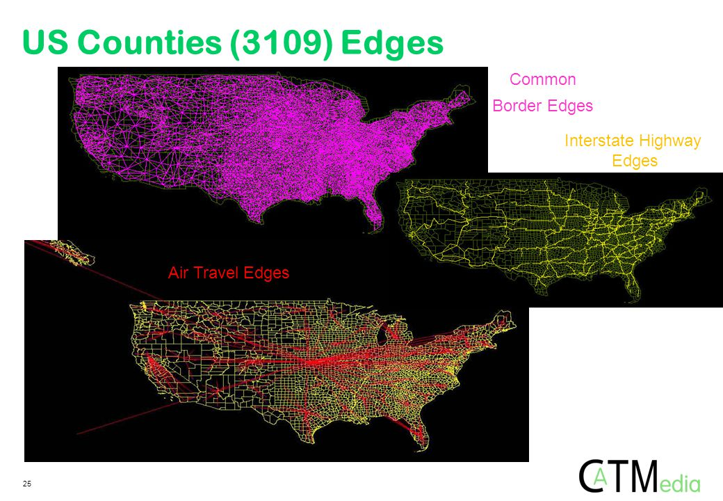 25 Common Border Edges Interstate Highway Edges Air Travel Edges US Counties (3109) Edges