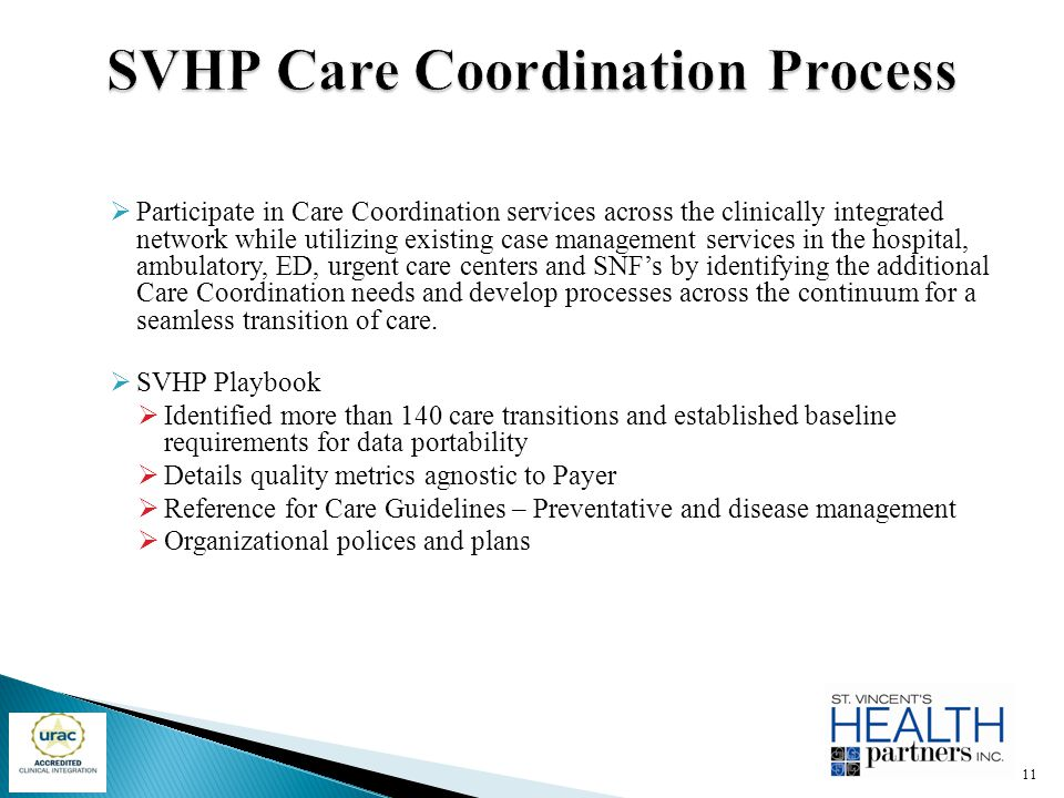  Participate in Care Coordination services across the clinically integrated network while utilizing existing case management services in the hospital
