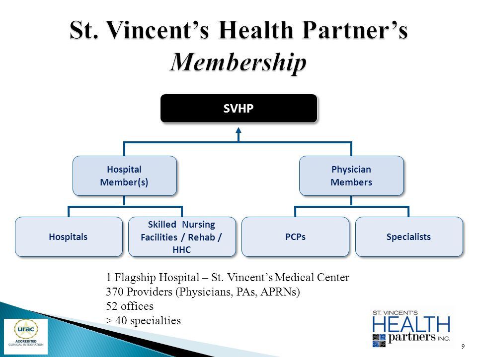 SVHPSVHP Hospitals Skilled Nursing Facilities / Rehab / HHC PCPs Specialists Hospital Member(s) Physician Members 1 Flagship Hospital – St. Vincent's