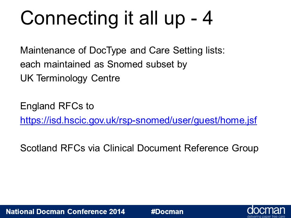 National Docman Conference 2014 #Docman Maintenance of DocType and Care Setting lists: each maintained as Snomed subset by UK Terminology Centre Engla