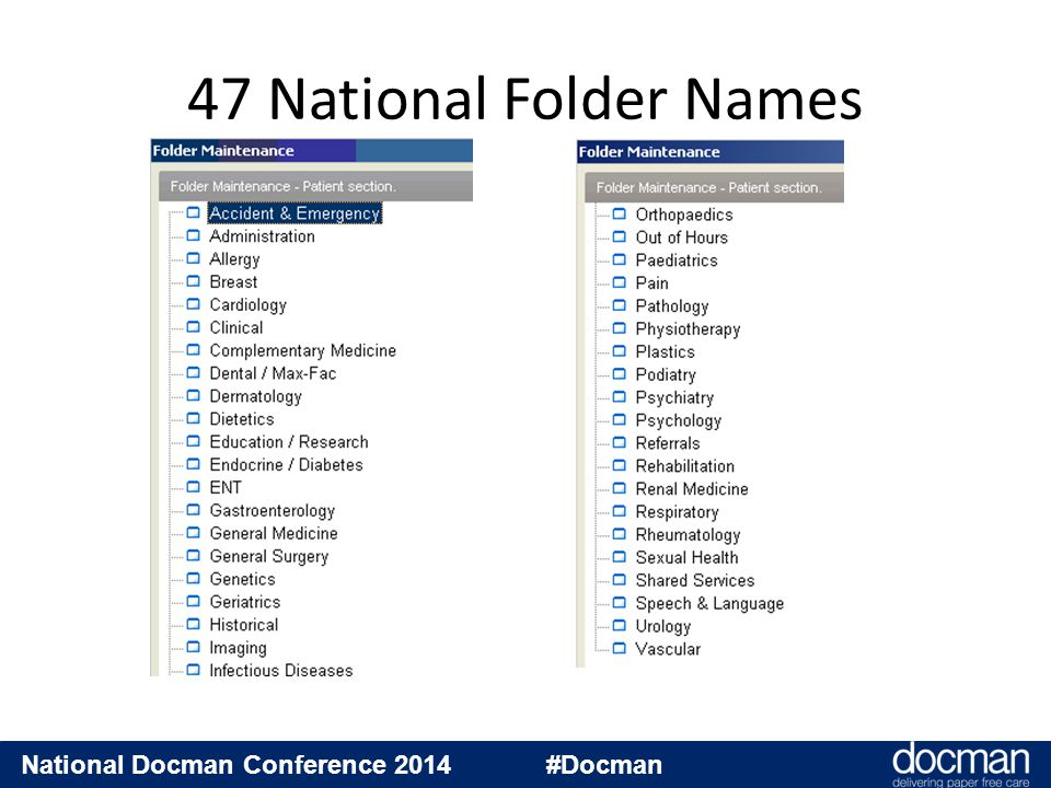 National Docman Conference 2014 #Docman Not customisable Useable for our filing clerks National agreement on Names 2005 National standard, so may be mandated Software upgrade to user interface to mandate the user to select and apply a National Folder Name 2006 Key features of new Folder Names