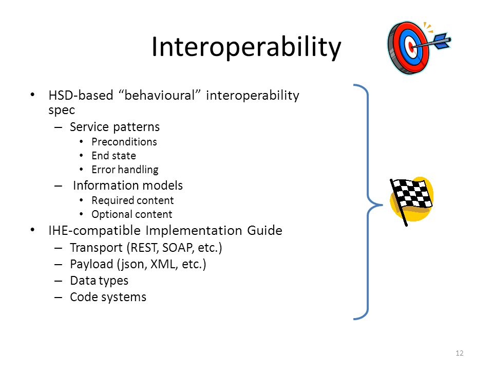 Interoperability HSD-based behavioural interoperability spec – Service patterns Preconditions End state Error handling – Information models Required content Optional content IHE-compatible Implementation Guide – Transport (REST, SOAP, etc.) – Payload (json, XML, etc.) – Data types – Code systems 12
