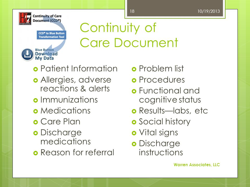 Continuity of Care Document 10/19/2013 Warren Associates, LLC 18  Patient Information  Allergies, adverse reactions & alerts  Immunizations  Medic