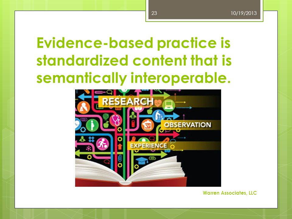 Evidence-based practice is standardized content that is semantically interoperable.