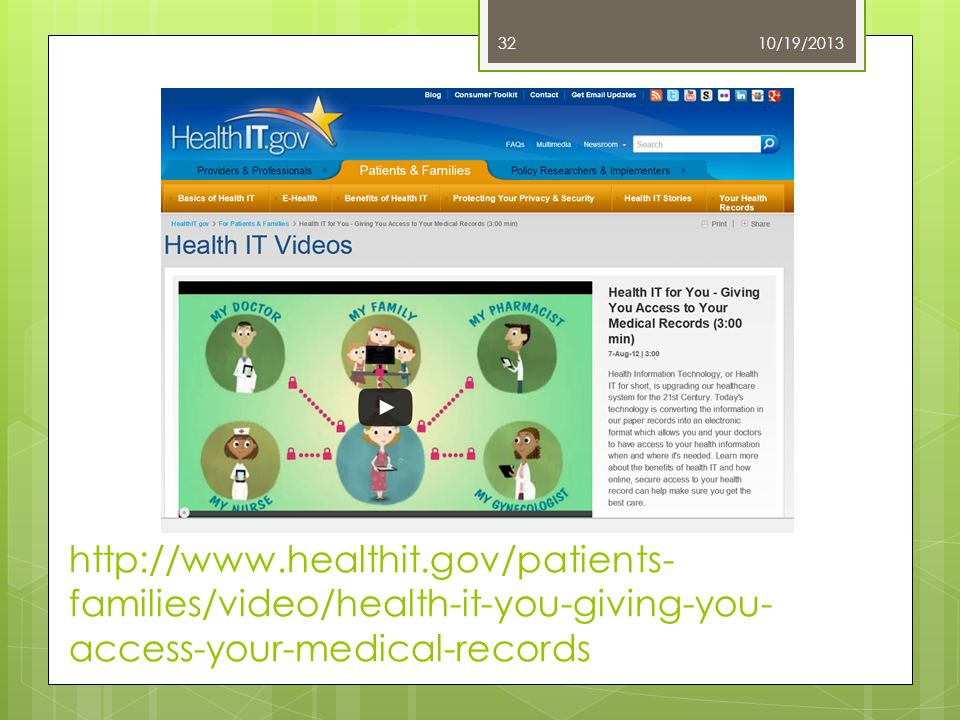 10/19/2013 Warren Associates, LLC 32 http://www.healthit.gov/patients- families/video/health-it-you-giving-you- access-your-medical-records