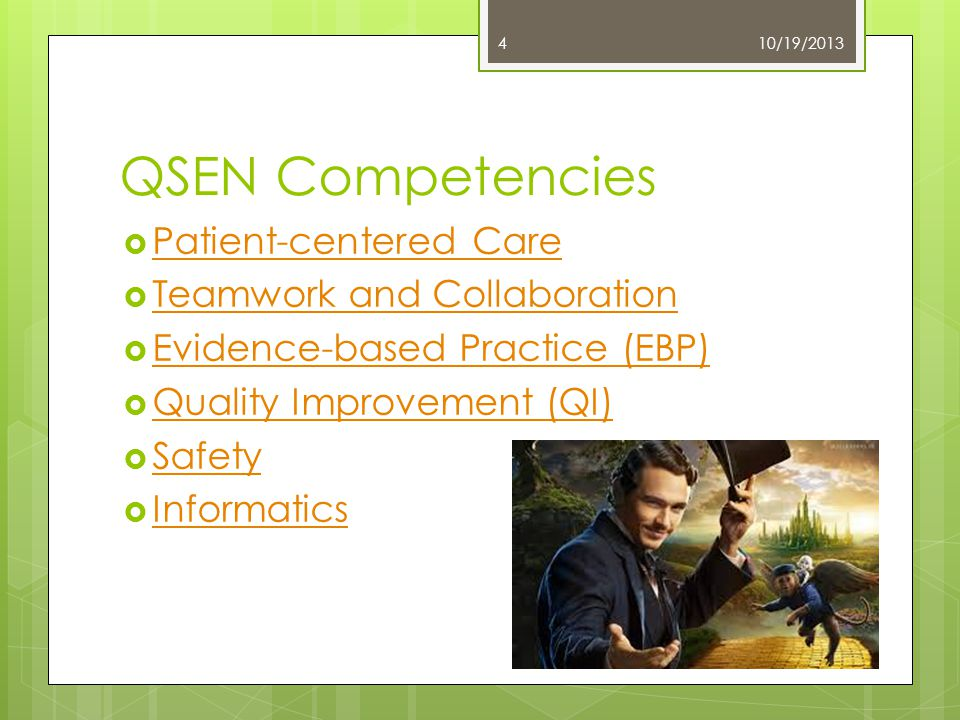 QSEN Competencies  Patient-centered Care Patient-centered Care  Teamwork and Collaboration Teamwork and Collaboration  Evidence-based Practice (EBP