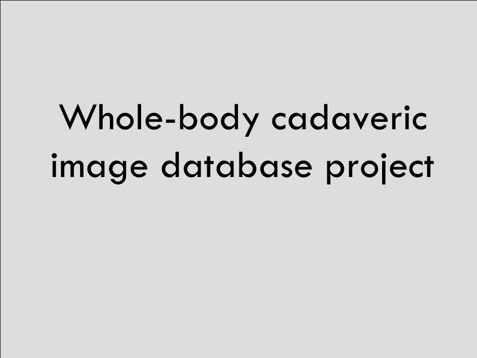 Whole-body cadaveric image database project