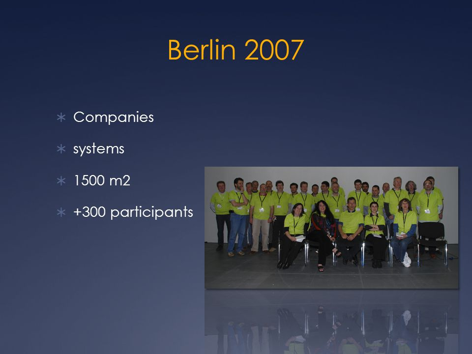 Berlin 2007  Companies  systems  1500 m2  +300 participants