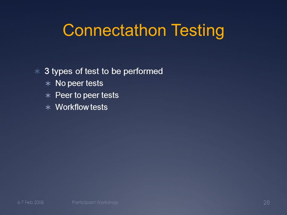6-7 Feb 2008Participant Workshop 28 Connectathon Testing  3 types of test to be performed  No peer tests  Peer to peer tests  Workflow tests