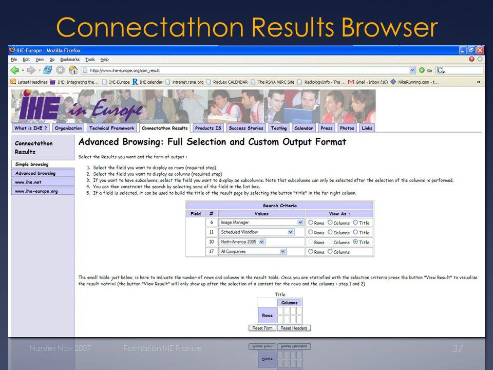 Nantes Nov 2007Formation IHE France 37 Connectathon Results Browser