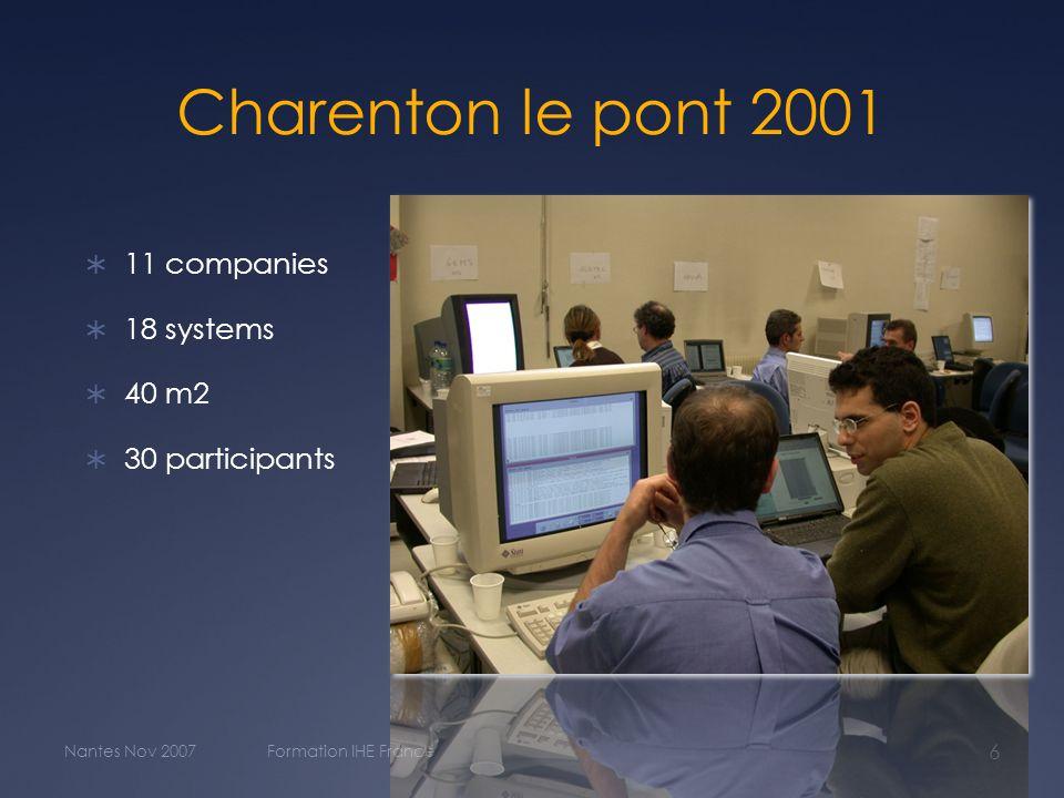 Charenton le pont 2001  11 companies  18 systems  40 m2  30 participants Nantes Nov 2007Formation IHE France 6