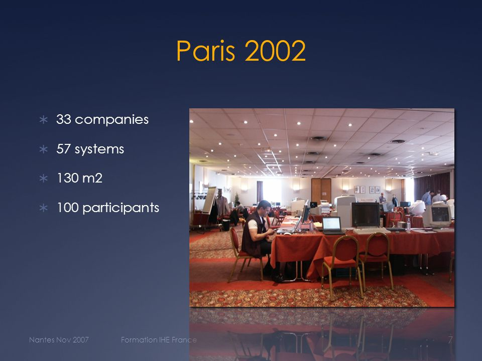Paris 2002  33 companies  57 systems  130 m2  100 participants Nantes Nov 2007Formation IHE France 7