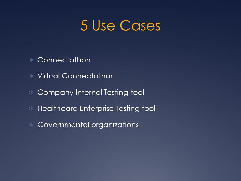 5 Use Cases  Connectathon  Virtual Connectathon  Company Internal Testing tool  Healthcare Enterprise Testing tool  Governmental organizations