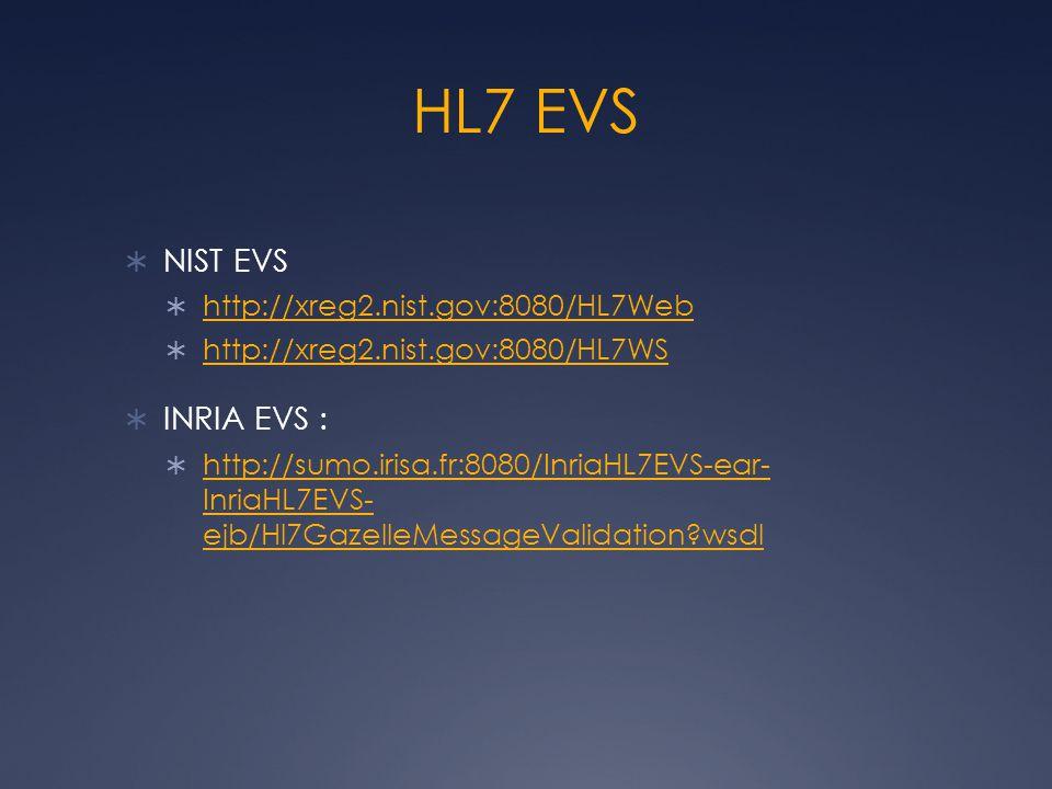 HL7 EVS  NIST EVS  http://xreg2.nist.gov:8080/HL7Web http://xreg2.nist.gov:8080/HL7Web  http://xreg2.nist.gov:8080/HL7WS http://xreg2.nist.gov:8080/HL7WS  INRIA EVS :  http://sumo.irisa.fr:8080/InriaHL7EVS-ear- InriaHL7EVS- ejb/Hl7GazelleMessageValidation wsdl http://sumo.irisa.fr:8080/InriaHL7EVS-ear- InriaHL7EVS- ejb/Hl7GazelleMessageValidation wsdl