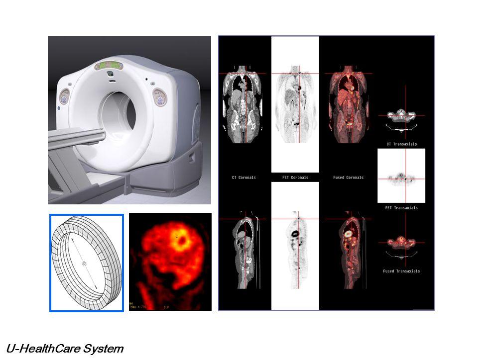U-HealthCare System PET / CT 란 ?? PET 은 양전자 방출하는 방사성의약품을 이용하여 체 내의 미세한 변화를 영상화 하는 최첨단 검사이고, 이 용하는 약품에 따라 당 대사, 단백질 대사, 핵산대사, 혈류 등의 다양한 체내변화를 영상으로 얻을 수