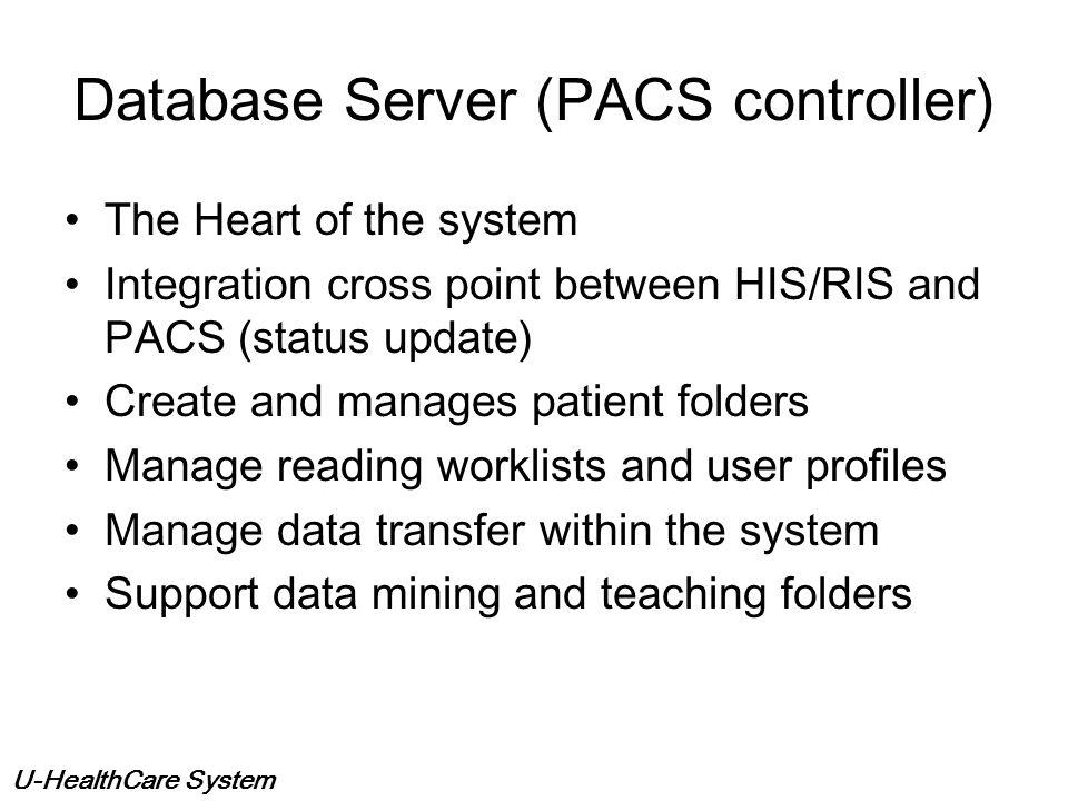 U-HealthCare System CRCRCRCR USXRAY RI S RI S PCs W/S FilmDigitizer CR QA FrameGrabber HIS/RISInterface(Broker) CT R&F MR NM DG Database Server and Im