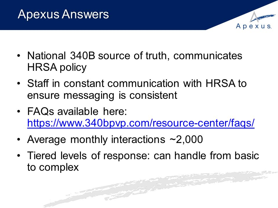 Apexus Answers National 340B source of truth, communicates HRSA policy Staff in constant communication with HRSA to ensure messaging is consistent FAQ