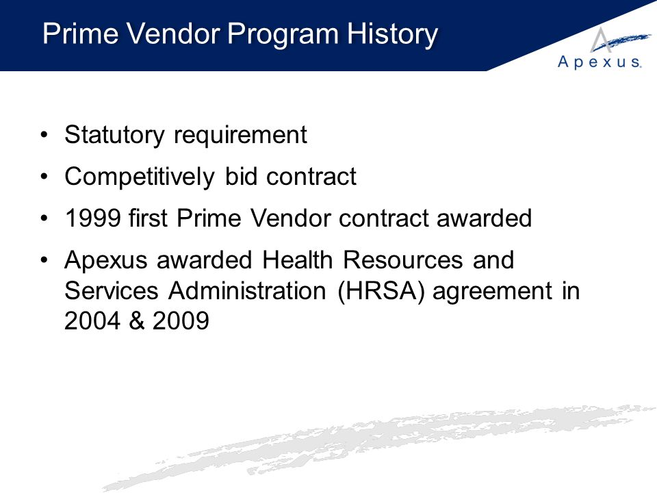 Prime Vendor Program Entity benefits –No cost to participate –Exclusive access to: Sub-340B and sub-WAC pricing on pharmaceuticals Discounts on value added products, services, and supplies Apexus Generics Program –Pricing transparency –Spend optimization reports and tools –340B University –ApexusAnswers Call Center