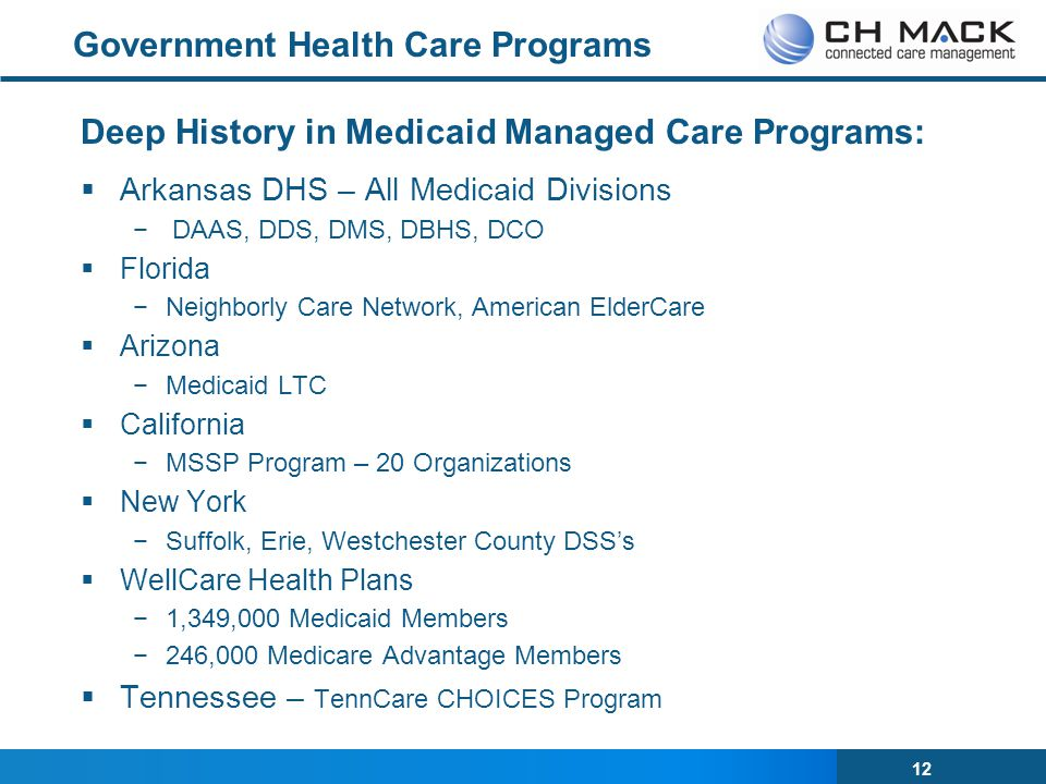 12 Government Health Care Programs Deep History in Medicaid Managed Care Programs:  Arkansas DHS – All Medicaid Divisions −DAAS, DDS, DMS, DBHS, DCO  Florida −Neighborly Care Network, American ElderCare  Arizona −Medicaid LTC  California −MSSP Program – 20 Organizations  New York −Suffolk, Erie, Westchester County DSS's  WellCare Health Plans −1,349,000 Medicaid Members −246,000 Medicare Advantage Members  Tennessee – TennCare CHOICES Program